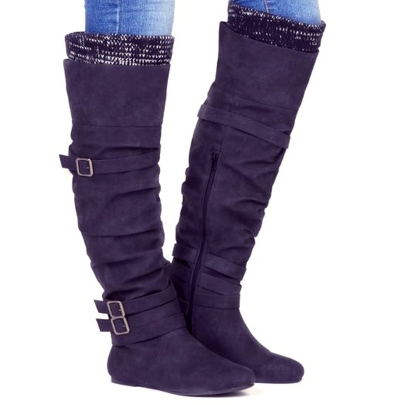 a7f9ec08765 🔴Navy blue over the knee boot with knit cuffs!